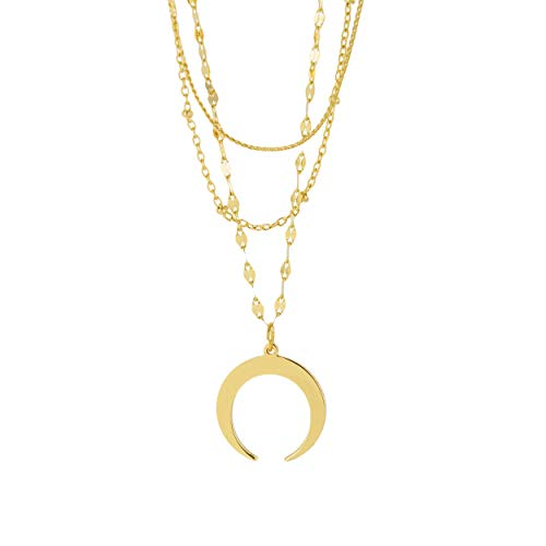 - And Lovely 18K Gold Plated Crescent Moon Necklace Double Horn Pendant Necklace Multilayer Chain Necklace Statement for Women