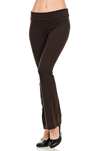 JDJ CO. Women's Cotton Solid Color Bootcut Length Fold Over Waistband Yoga Pants (S, Brown)