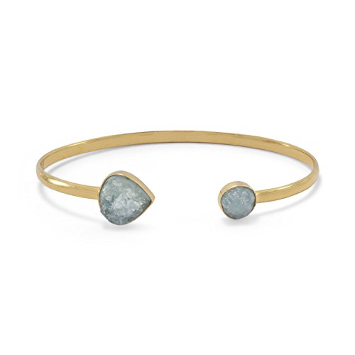 - Precious Stars 14k Gold Plated Sterling Silver Aquamarine Open Cuff Bracelet