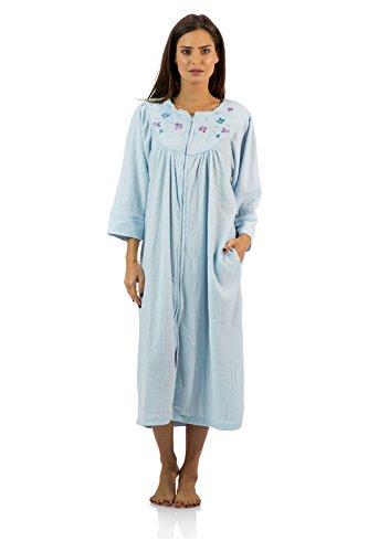 (Casual Nights Women's Zipper Front Jacquard Fleece Long Robe Duster - Blue -)