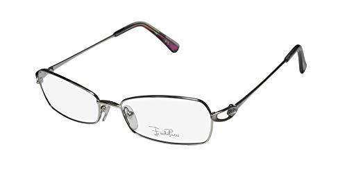 Emilio Pucci 2113r Womens/Ladies Designer Full-rim Eyeglasses/Eye Glasses (54-16-130, Shiny Silver) (Gold-designer-brille)