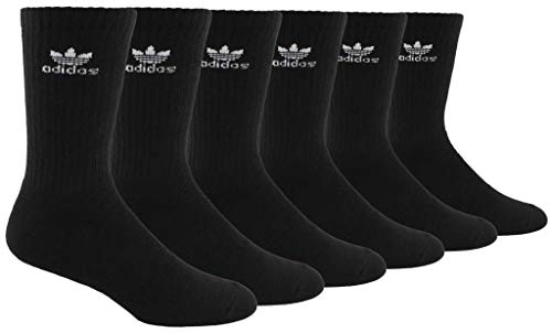 adidas Originals Men's Trefoil Crew Socks (6-Pair), Black/White, Large, (Shoe Size 6-12)