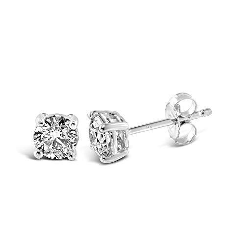 IGI-Certified 14K White Gold Stud Earrings 1.0 Cttw Colorless Lab Created Conflict Free Diamond Classic Basket (E-F Color, VS2-SI1 Clarity) by Brilliant Expressions