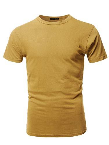Basic T Shirt Casual Vintage Crewneck Tee Mustard XL
