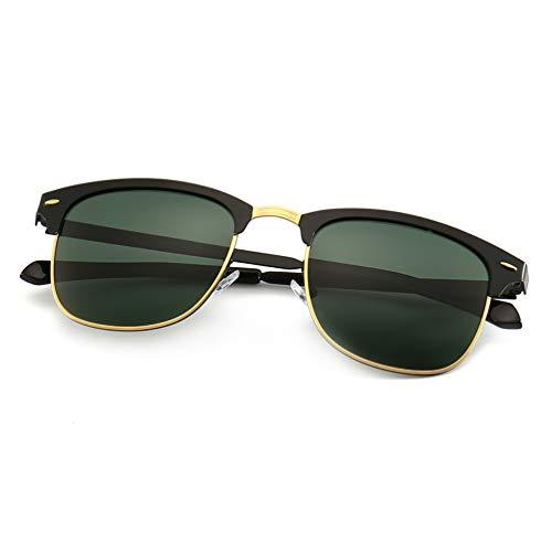 SUNGAIT Retro Sunglasses for Men Women (Black Frame/Green Lens) Metal Frame A502 ()