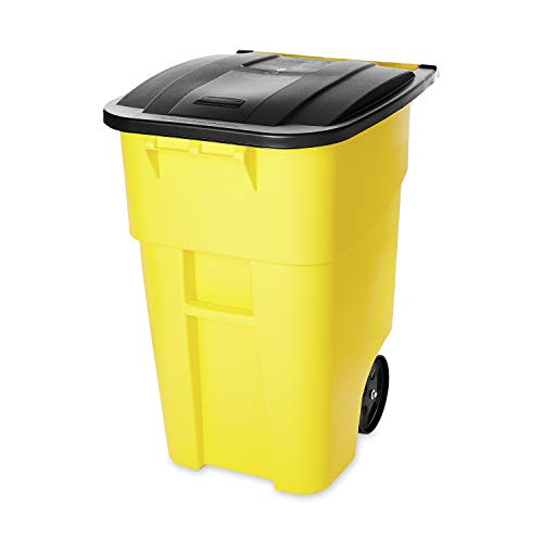 Rubbermaid Commercial Products FG9W2700YEL BRUTE Rollout Heavy-Duty Wheeled Trash/Garbage Can, 50-Gallon, Yellow
