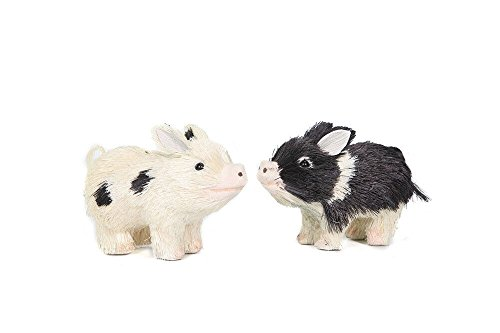 "Set of 2 Assorted Special T Imports 5"" Rustic Pig Figurines with Plastic Bristles"