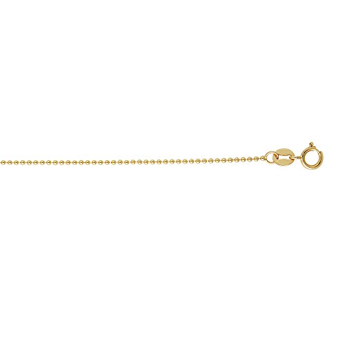 14k Solid Yellow Gold 1.5mm Shiny Bead Chain Necklace, Lobster Claw Clasp - 20 Inches, 4.2gr.