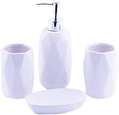 portasapone Dispenser per Sapone Homevibes Accessori da Bagno in Ceramica Completo Porta spazzolino 4 Pezzi Set da Bagno Accessorio di Design Bianco