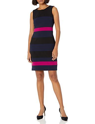 Tommy Hilfiger Women's Scuba Crepe Sheath Dress, Black/Sky Captain/Magenta, 14