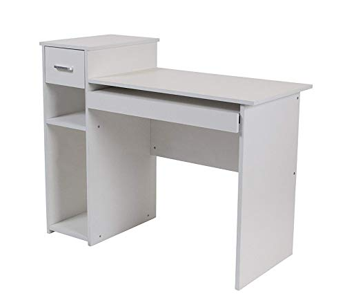 Deluxe Premium Collection Highland Park White Computer Desk with Shelves and Drawer Decor Comfy Living Furniture