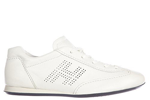 Hogan scarpe sneakers donna in pelle nuove olympia h bucata bianco