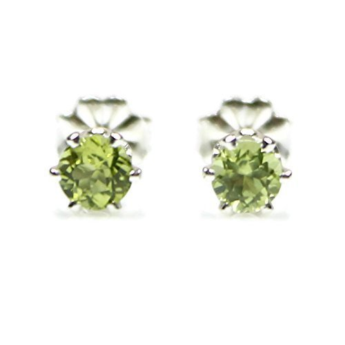 Small Peridot Earrings 925 Sterling Silver Jewelry Green 4MM Round Faceted Natural Gemstone Studs August Birthstone