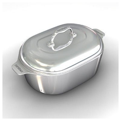 Gourmet 16.5 inch Heavy Cast Aluminum Covered Oval Roaster with Non-Stick Interior