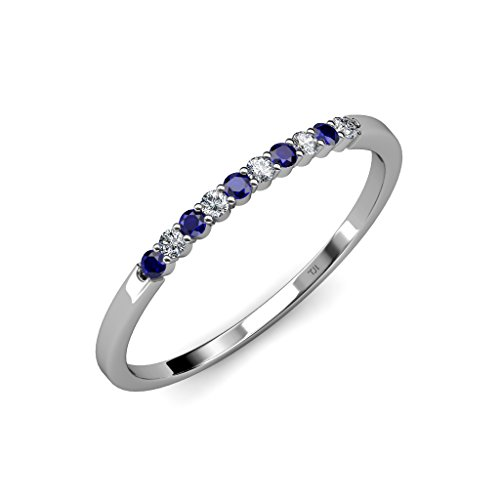 Blue Sapphire and Diamond (SI2 I1 Clarity, G H Color) Wedding Band 0.27 ct tw in 14K Gold