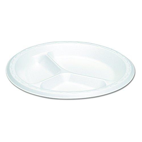 Plate Foam Compartment 3 (Genpak LAM39 8.88-Inch Diameter White Color 3 Compartment Elite Foam Laminated Plate 125-Pack (Case of 4))