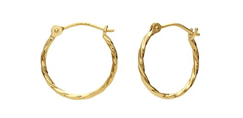 14k Yellow Gold Twisted Round Hoop Earrings (12mm) 14k Yellow Gold Twisted Hoop