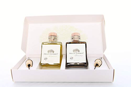 Della Terra Gourmet Gift Set includes Extra Virgin Olive Oil and Cask 25 Yr. Aged Balsamic with Pour Spouts Two Day Delivery