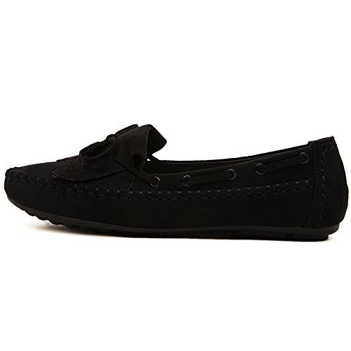 Black Shoes Plus Genuine Leather Women Flats Size BXDE Womens FxqBSnwCTO