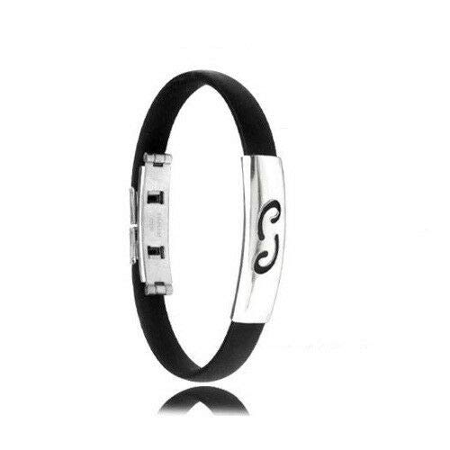 Cool Charm Stainless Steel Rubber Constellation Bangle Clasp Bracelet C Cancer ()