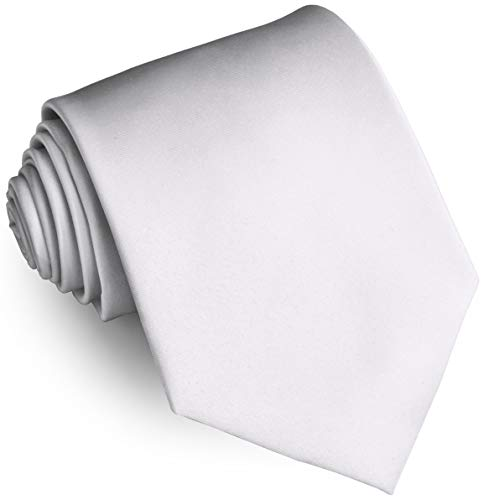 - Ties For Men Satin Necktie - Mens Solid Color Neck Tie Wedding Neckties (White)