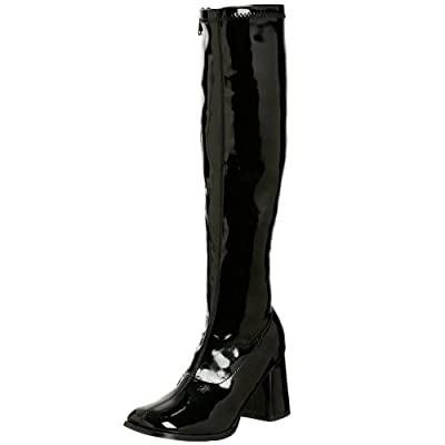 """Pleaser GOGO-300 3"""" Knee Boot, Black Stretch Patent-Size 9"""