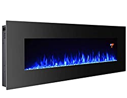 3G Plus Electric Fireplace Wall Mounted Heater Crystal Stone Fuel Effect 3 Changeable Flame Color w/Remote- Black from 3G Plus