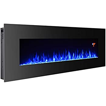 """3G Plus 50"""" Electric Fireplace Wall Mounted Heater Crystal Stone Fuel Effect 3 Changeable Flame Color w/Remote- Black"""