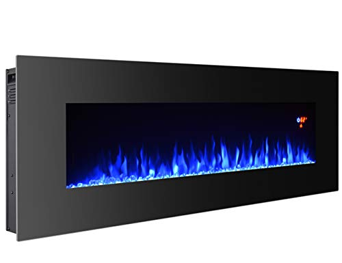 3GPlus 50 Electric Fireplace Wall Mounted Heater Crystal Stone Fuel Effect 3 Changeable Flame Color w/Remote- 50 / Black