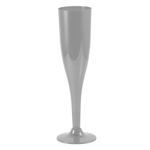 JAM Paper Plastic Champagne Flutes - 5 1/2 oz - Silver - 20 Glasses/Pack