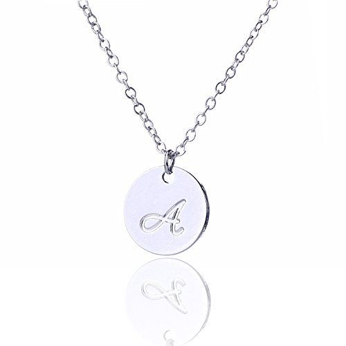 AOLO Silver Color Initial Disc Necklace Script Cursive A -