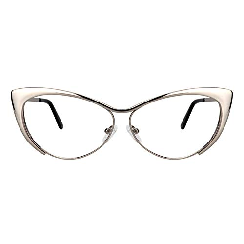 Zeelool Unisex Oversized Stylish Metal Browline Cat Eye Glasses Ellen VFM0176-01 Sliver -