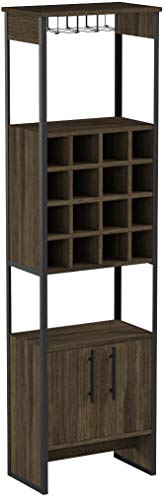 TUHOME Magnum Collection Free Standing Bar Cabinet/Wine Cabinet/Storage Cabinet with Steamware Wine Glass Rack 16 Wine Bottle Rack 2 Shelves and 1 Cabinet with Dark Weathered Oak Finish