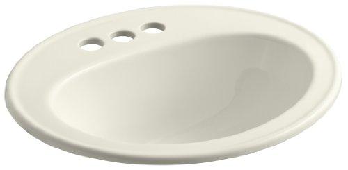 Biscuit Vitreous China Toilet - KOHLER K-2196-4-96 Pennington Self-Rimming Bathroom Sink, Biscuit