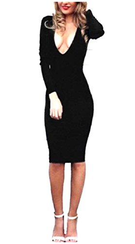 Black Sleeve V Solid Cocktail Swing Comfy Dress Sexy Womens Deep Neck Long qxEnRFpPwa