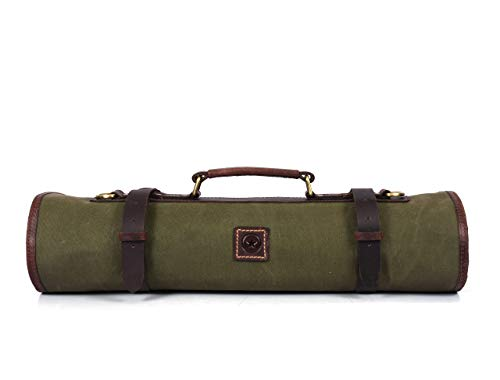 Leather Knife Roll Storage Bag, Elastic and Expandable 10 Pockets, Adjustable/Detachable Shoulder Strap, Travel-Friendly Chef Knife Case (Biege, Canvas)