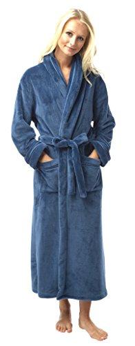 Albornoz de franela (forro polar), bata de satén, diversos colores, longitud completa azul petróleo