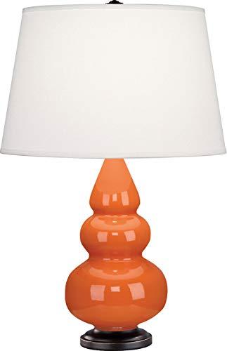 Robert Abbey 262X Lamps with Pearl Dupioni Fabric Shades, Pumpkin Glazed Ceramic/Deep Patina Bronze Finish