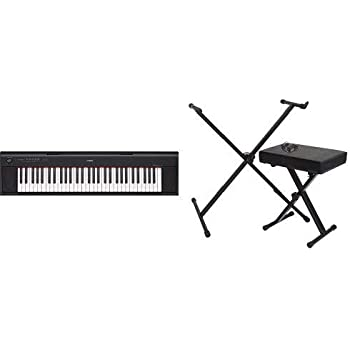 Yamaha NP12 61-Key Lightweight Portable Keyboard, Black with Stand, Bench and Power Supply