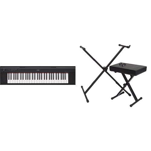 Lowest Prices! Yamaha NP12 61-Key Lightweight Portable Keyboard, Black with Stand, Bench and Power S...