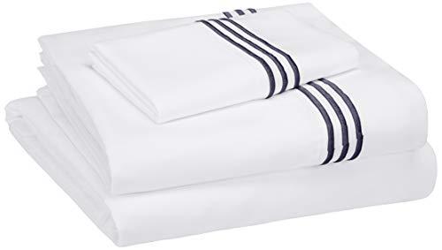 AmazonBasics Embroidered Hotel Stitch Sheet Set - Premium, Soft, Easy-Wash Microfiber - Twin-XL, Embroidered Navy Blue