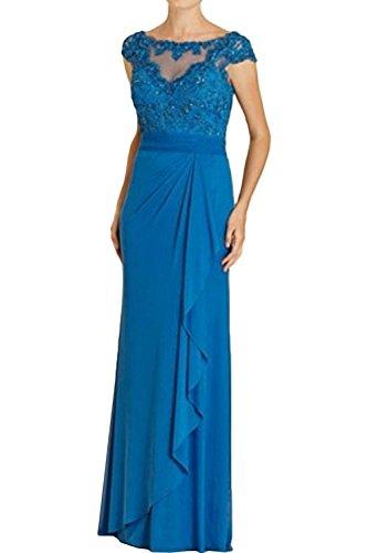 Braut Brautmutterkleider Abendkleider Bodenlang Spitze Fesltichkleider Blau Ballkleider Promkleider La mia Kurzarm fKq40BH5w