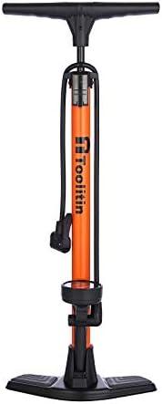 TOOLITIN Floor Bicycle Pump with Gauge,160 Psi High Pressure,Bike Pump Compatible with Presta and Schrader Val