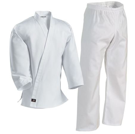 Century Karate Martial Arts Uniform with Belt Light Weight White Cotton Elastic Waistband & Drawstring for Adult & Children Size 000 – 7 (Size 7 230-260lb 6ft 5in – 6ft 8in)
