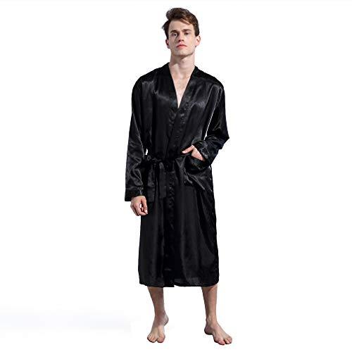 Nero Camicie Da Pigiami Vestaglie Boyann Uomo Kimono E Raso Accappatoi Notte Lungo a8T8qP7I