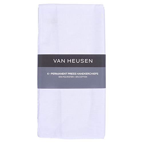 Van Heusen 6 pack Men's Fine Handkerchiefs (White- Permanent Press)
