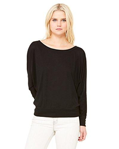 Bella + Canvas Womens Flowy Long-Sleeve Off Shoulder T-Shirt (8850)- BLACK,XS