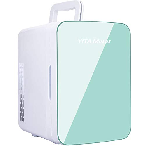 YITAMOTOR Green Mini Fridge 10 Liter/10 Can Portable Compact Personal Cooler and Warmer Small Refrigerator for Bedroom, Dorm, Car, Office, Skin Care, Breast Milk, Food