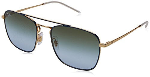 Ray-Ban Men's Metal Man Square Sunglasses, Gold on Top Blue, 55 - Sunglasses Colored Ray Ban