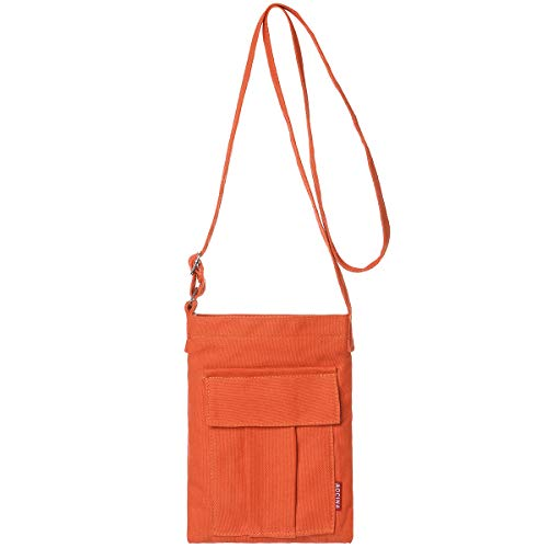 AOCINA Small Crossbody Purse Bags Canvas Mini Shoulder Handbag For Women(Orange)